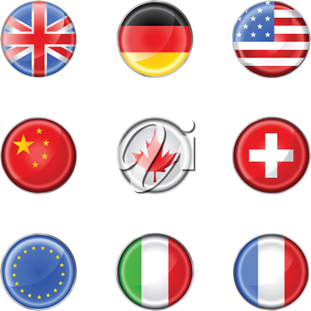 Royalty Free Clipart Image of Various Flag Buttons