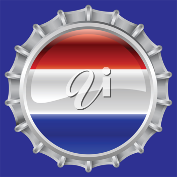 Royalty Free Clipart Image of a Flag of Netherlands Bottlecap