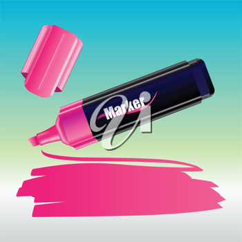 Royalty Free Clipart Image of a Pink Marker