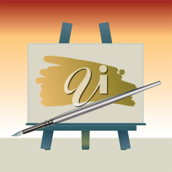 Royalty Free Clipart Image of a Canvas and Paintbrush