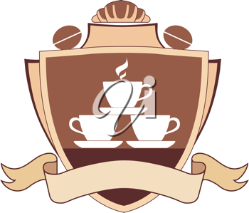 Royalty Free Clipart Image of a Coffee Shield