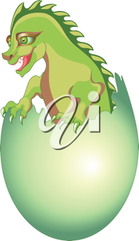 Royalty Free Clipart Image of a Baby Dragon Hatching