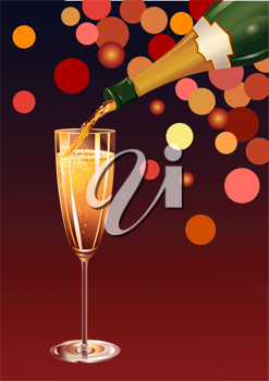 Royalty Free Clipart Image of a Glass of Champagne