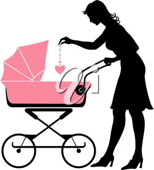 Royalty Free Clipart Image of a Mother Pushing a Stroller