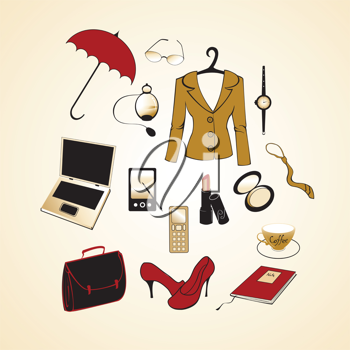 Royalty Free Clipart Image of a Businesswoman's Accessories
