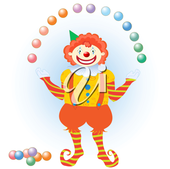 Royalty Free Clipart Image of a Clown Juggling