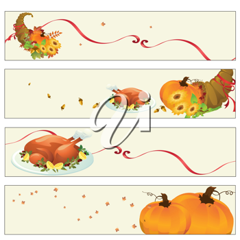 Royalty Free Clipart Image of Thanksgiving Banners