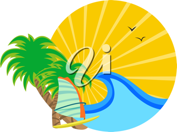 Royalty Free Clipart Image of a Sunrise and Surf