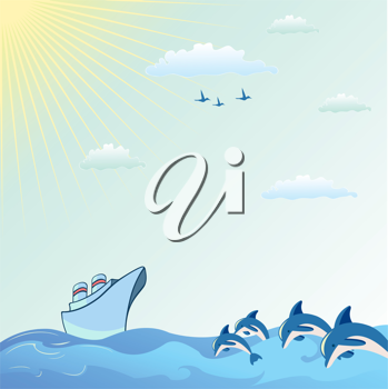 Royalty Free Clipart Image of a Ship by Dolphins in the Sea
