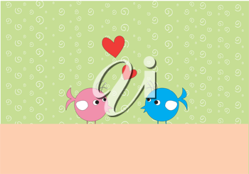 Royalty Free Clipart Image of a Cute Background With Birds