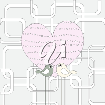 Royalty Free Clipart Image of a Cute Bird Background
