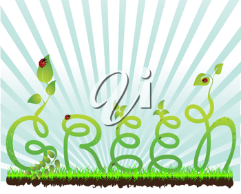Royalty Free Clipart Image of a Green Concept Background