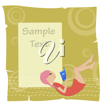 Royalty Free Clipart Image of an Invitation With a Girl