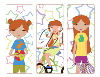 Royalty Free Clipart Image of Girls Doing Activities