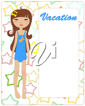 Royalty Free Clipart Image of a Girl in a Swimsuit