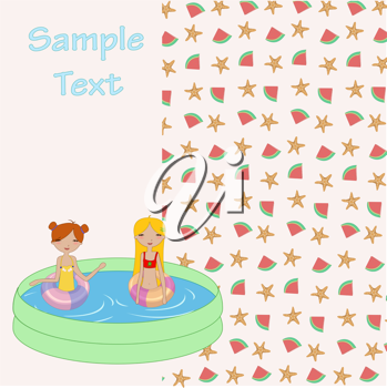 Royalty Free Clipart Image of Two Girls in a Pool