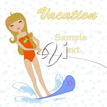 Royalty Free Clipart Image of a Girl on Water Skis