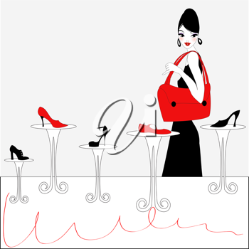 Royalty Free Clipart Image of a Woman Shopping