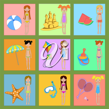 Royalty Free Clipart Image of Girls at the Beach With Toys
