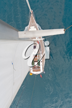Royalty Free Photo of the Top View of a Sailboat
