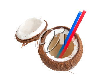 Royalty Free Photo of an Opened Coconut With Straws