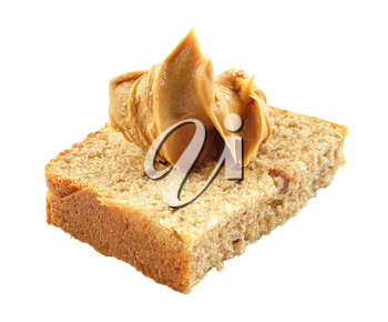 homemade bread with peanut butter on white background