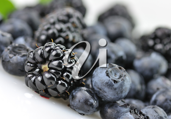 fresh blueberries and blackberries , close up shot, with waterdrops