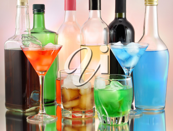 variety of alcoholic drinks , close up