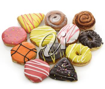 Collection Of  Colorful Donuts On White Background