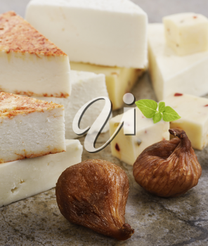 Assortment Of Cheese With Dried Figs