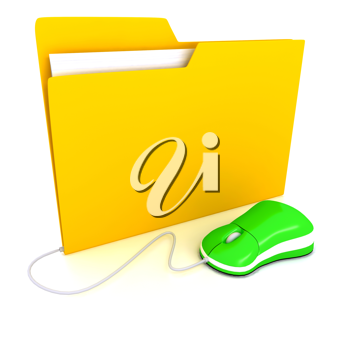 Royalty Free Clipart Image of a Folder and Computer Mouse