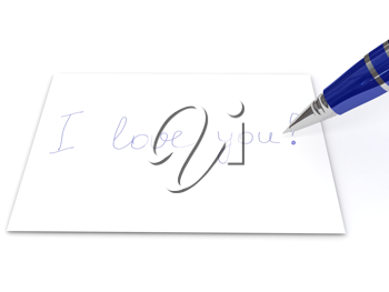Royalty Free Clipart Image of a Blue Pen and Note