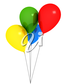 Royalty Free Clipart Image of Colourful Balloons