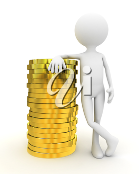 3d person with gold coins over white background. computer generated