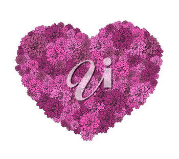 Vector illustration of beautiful hand drawn flowers in heart. The best for Valentines Day, Wedding and Birthday design.