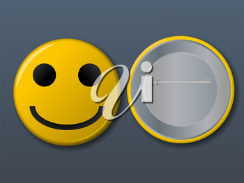 Smile pin, yellow on grey background - Illustration