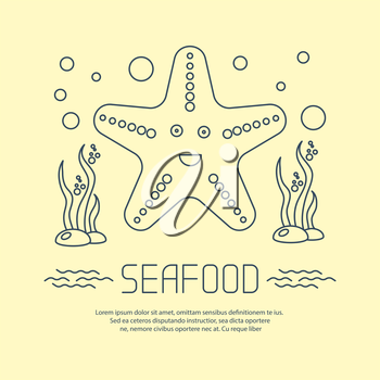 Seafood icon with starfish and seaweed. Vector