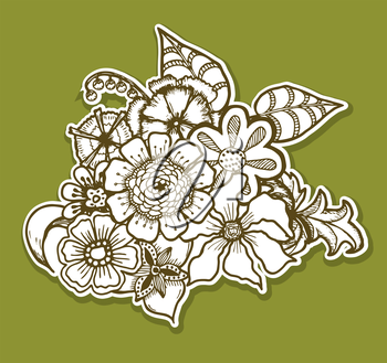 Ornate floral pattern with flowers. Doodle sharpie background. template for card, poster, leaflet. eps10