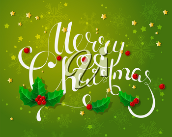 Holiday Vector Lettering background, Merry Christmas concept