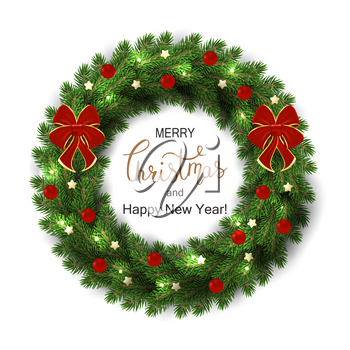 White card with Christmas green wreath. Vector illustration.