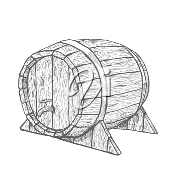 Vector hand drawing wood barrel in white background. Illustration EPS