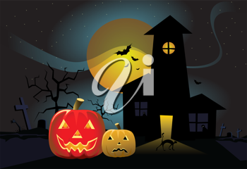 Royalty Free Clipart Image of a Haunted House With a Full Moon and Jack-o-Lanterns