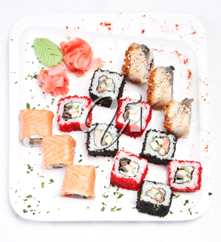 Sushi on the white plate