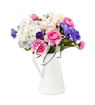 Colorful bouquet pink and blue flowers in white decorative bucket, isolated on white