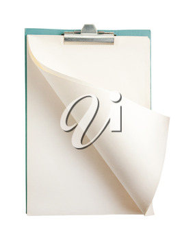 Blank open notepad isolated on white