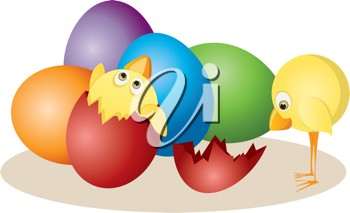 Royalty Free Clipart Image of Chicks and Easter Eggs