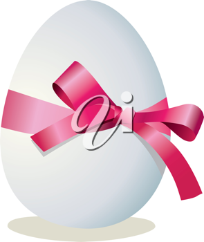 Royalty Free Clipart Image of an Egg With a Pink Bow