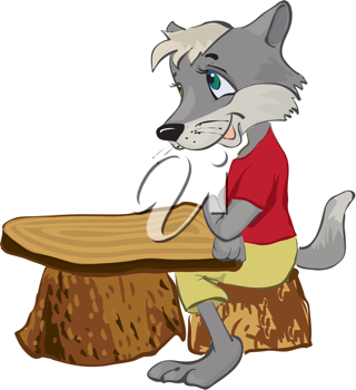 Royalty Free Clipart Image of a Wolf at a Wood Stump