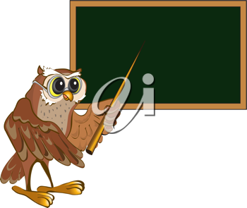 Royalty Free Clipart Image of an Owl Teacher at a Blackboard