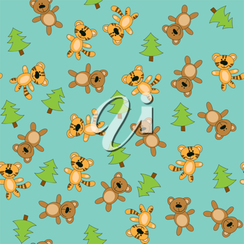 Royalty Free Clipart Image of a Bear, Tiger and Tree Background
